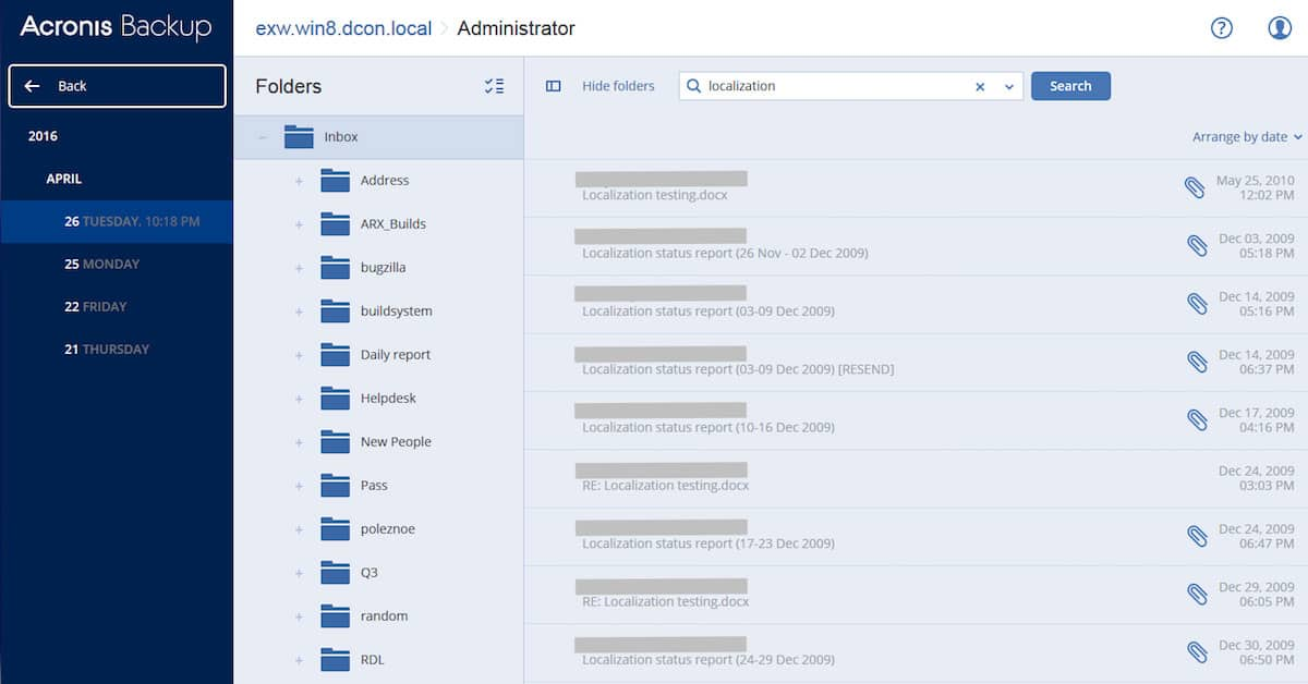 Acronis Backup and Recovery for Exchange Server